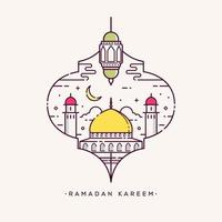 Ramadan kareem arabic calligraphy with mosque line art design vector