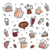 tiempo de café doodle iconos vectoriales dibujados a mano para papel tapiz de cafetería vector
