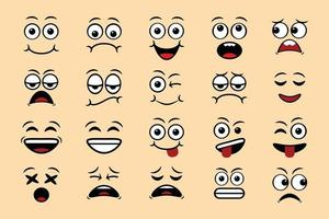 Cartoon face expressions doodle hand drawn emoticon isolated vector illustration