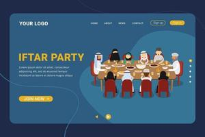 Iftar party with Family During Ramadan Month Landing page vector