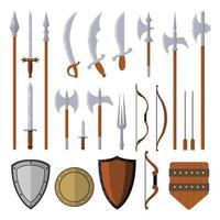 Medieval weapons set design elements isolated on white background vector