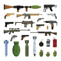 Modern gun and bomb weapons set design element isolated vector
