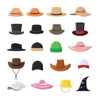 Set of hats in various model stylish vintage and modern flat vector illustration