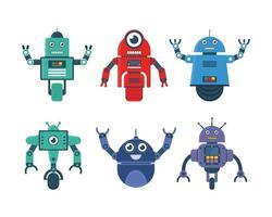Conjunto de juguetes robot en varios modelos de robot y rueda de robot ilustración vectorial vector