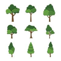 Set of trees object isolated on white background vector illustration