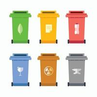 Recycle bin plastic metal glass paper kitchen waste object elements vector