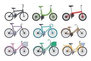 Conjunto de colección de bicicletas diferentes aislado sobre fondo blanco. vector