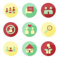Abstract Social Development Icon Set Vector Design
