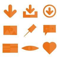 Abstract Orange Basic Icon Vector Design Set