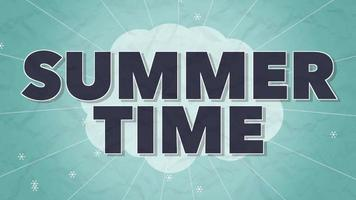 Animated Text Summer Time with Retro Lines and Flowers on Yellow Background video