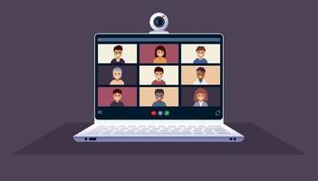 Laptop with people in remote conference or meeting vector