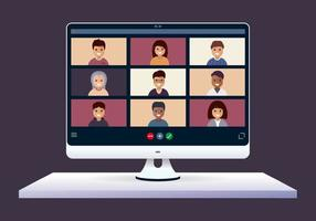 Computer screen with people in remote meeting vector