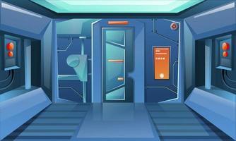 Hallway in spaceship with closed door vector