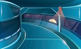 Hallway in spaceship with porthole and camera vector