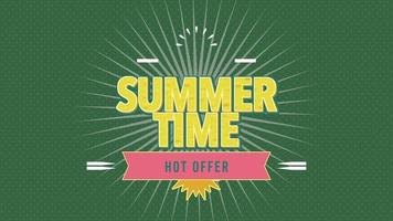 Animated Text Summer Time with Sun Rays and Vintage Stamp on Green Summer Background video