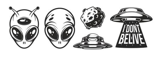 Aliens logo details and ufo day vector