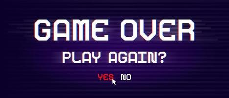 Game over banner for games with glitch effect vector