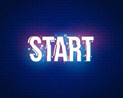 Start banner for games with glitch effect vector
