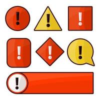 Exclamation mark set beware icons vector