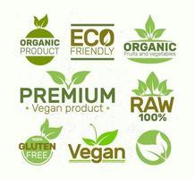 Set of eco labels organic vegan vector