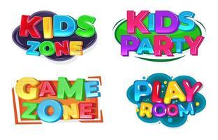 Kids zone party logo set vector
