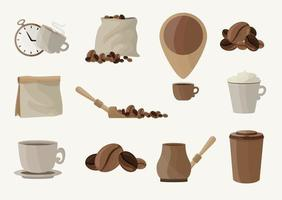 Big set of Coffee elements for your design vector