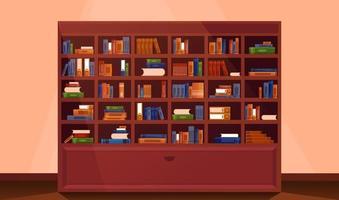 librería gran librería con libros vector