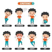 Little Kid With Different Emotions vector