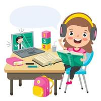 Online Learning Concept With Cartoon Character vector