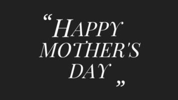 Animation de fête des mères heureuse animée sur animation de fond noir de luxe minimalisme video
