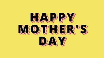 animation de fête des mères heureuse animée sur animation de fond jaune minimalisme video