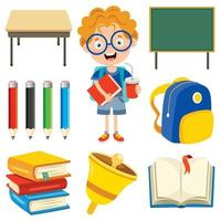 Happy Cute Cartoon School Set vector