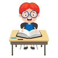 Happy Cute Cartoon School Boy vector