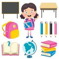 Happy Cute Cartoon School Girl vector