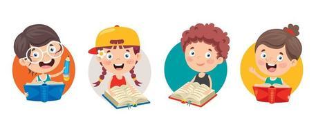 Happy Cute Cartoon School Children vector