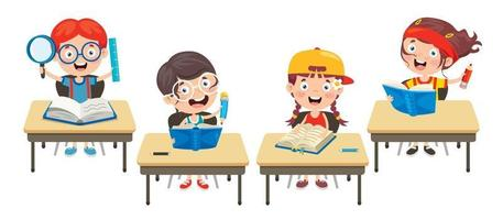 Happy Cute Cartoon School Children vector