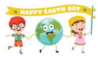 día de la tierra con personaje de dibujos animados vector
