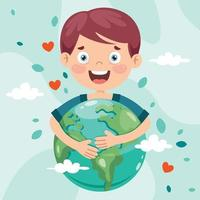 Earth Day With Cartoon Character vector