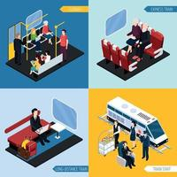 Train Interior Passengers Isometric Concept Vector Illustration