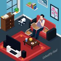 Man With Overweight Isometric Composition Vector Illustration