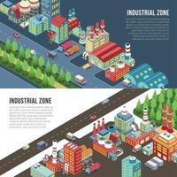 Industrial Zone Horizontal Banners Vector Illustration