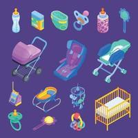Ilustración de vector de conjunto isométrico de accesorios de bebé