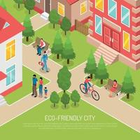 Eco Friendly City Isometric Illustration Vector Illustration