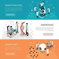 Nano Technologies Horizontal Banners Vector Illustration