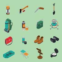 iconos de senderismo conjunto ilustración vectorial vector