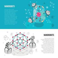 Nano Robots Isometric Banners Vector Illustration