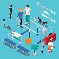 Prosthetics and Orthopedics Isometric Composition Vector Illustration