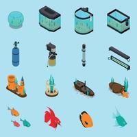 iconos de acuario conjunto ilustración vectorial vector