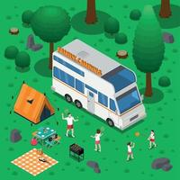 Camping Isometric Concept Vector Illustration