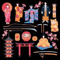 Ancient Japan Flat Set Vector Illustration